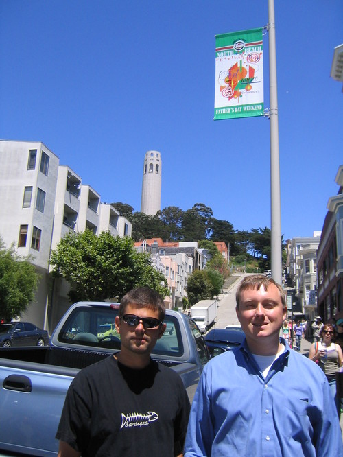 John and Asher in front of Coit Tower